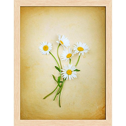 ArtzFolio Vintage Composition with A Bouquet Canvas Painting Natural Brown Wood Frame 16 X 20.6Inch Bouquet Natural Wood