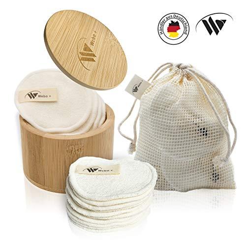 Webo+ Waschbare Abschminkpads | + GRATIS E-Book + Waschnetz + Aufbewahrungsbox | 10 wiederverwendbare Wattepads aus Bambus | zero waste