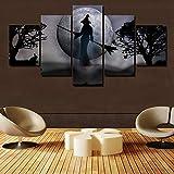 INFANDW 5 Panel Druck auf leinwand Mond rotäugige sonderbare Hexe Pop Art Gemälde Kunstdrucke Wandbilder Bilder zur Dekoration - Schlafzimmer Wohnzimmer Flur Kinderzimmer Deko 150 x 80 cm (Rahmenlos)