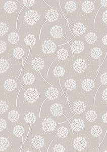 Pissenlit Tissu floral tissu lew57Blanc sur taupe–Make a Wish par Lewis & Irene–100% coton–0,5m–Fleurs Motif floral en blanc sur fond taupe