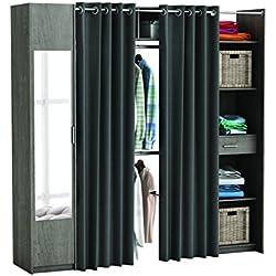 Miroytengo Kit armario extensible vestidor armario ropero con espejo cortinas y columna con estantes color roble prata 165x220x50 cm