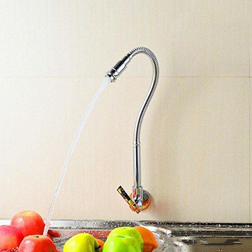 Parete singola freddo 360 gradi rotante cucina rubinetti monoforo singolo contral monocomando, cromatura, 22MM di (Fiore Fontana Parete)