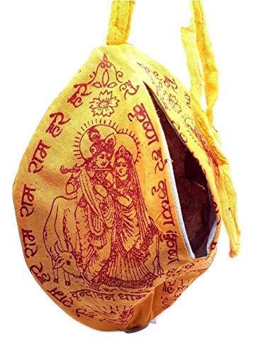 Eclectic Shop UK Mala Tasche Krishna Gebet Puja Japa Mala Tasche Hindu Chant Yoga Meditation Hase Rama Tuch Hand Gefärbt Indianer Gelb/Orange