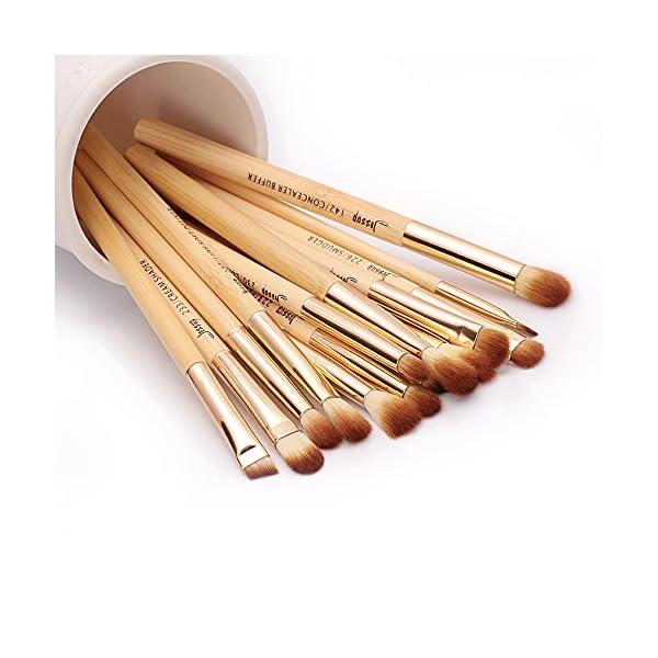 Set de brochas de bambú para maquillaje profesional, kit de herramientas de maquillaje, Buffer definidor de pliegues…