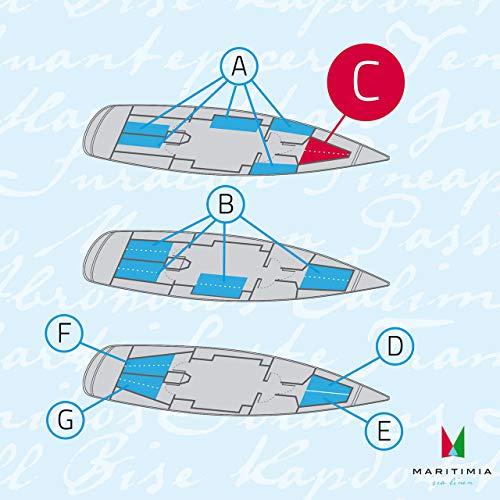 MARITIMIA Yacht Spannbettlaken (Typ C) Bug Kajüte Trapez Doppelkoje Marineblau (Bettwäsche Boot,)
