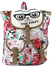 Deal Especial New Stylish Big Size White & Pink Printed Backpack Bag Gift & Sales 216