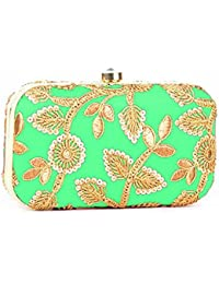 Tooba Handicraft Designer Party Wear Hand Crafted Designer Box Clutch With Best Quality Aari Work On Imported...