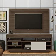 Artely Roma TV Table and Wall Panel for 47 inch TV, Walnut Brown/ Walnut Brown with Off White, Panel: W 140 cm