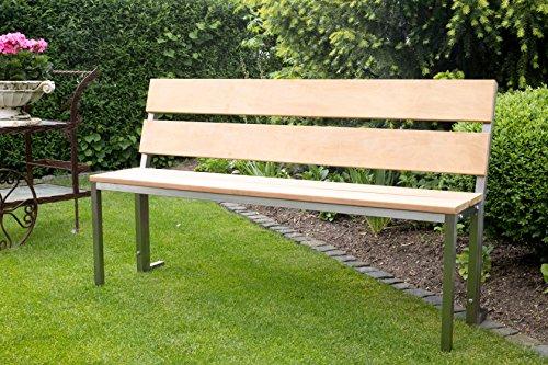 Sitzbank / Gartenbank mit Rückenlehne, Edelstahl (stilvolle Sitzbank für Wohnraum, Bank mit Echt-Holz, Gartenbank, Holzbank, Parkbank), Made in Germany (Marke: Szagato) (150 x 30 cm)