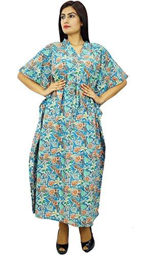 Strand vertuschen Kaftan Boho Hippie neue indische plus size Frauen tragen Kleid Kaftan Aqua Blau Und Grün