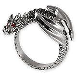 Fly Style® Herren-Ring Edelstahl 29 Designs Totenkopf Freimaurer Templer Band risstmix002, Ring Grösse:17.2 mm, Modell:Geflügelter Drache