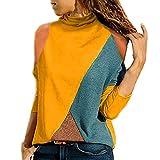 Mujer Polyester Ajustado Blusa Moda Patchwork Casual para Mujer Color Block O-Neck Manga Larga Camiseta Tops Otoño e Invierno riou