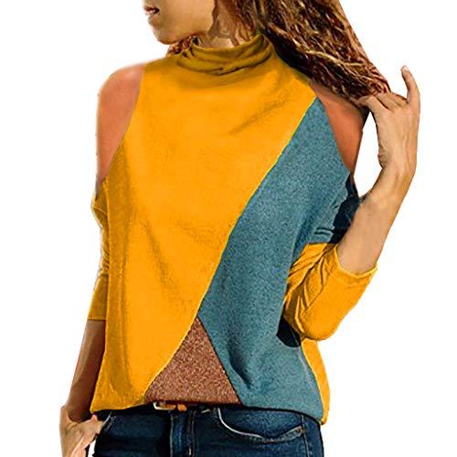 8029c9064c Mujer Polyester Ajustado Blusa Moda Patchwork Casual para Mujer Color Block  O-Neck Manga Larga