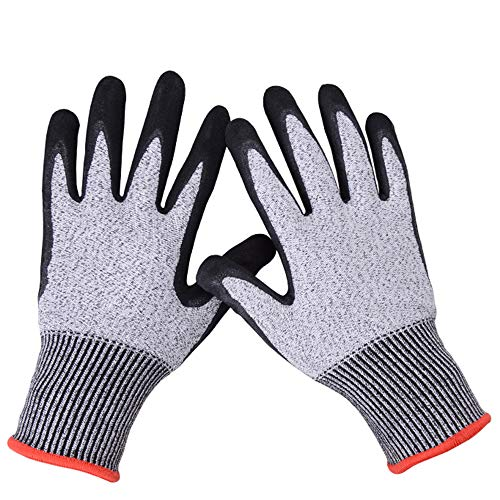 Schale Schnitzen (Decdeal Schnittschutz Handschuhe Schutzstufe 5 Kettenhandschuhe rutschfeste Arbeitshandschuhe für Pannengarten Holzarbeiten Schälen Schnitzen)
