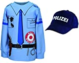 shirt-side gmbh Kinder Polizei Uniform Kostüm 2er Set Sweat + Cap Gr. 92 bis 134 (110/116)
