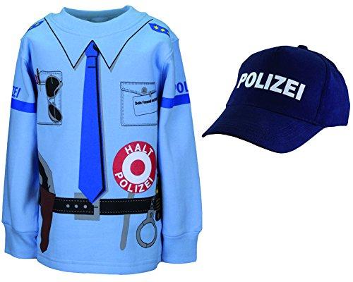 (shirt-side gmbh Kinder Polizei Uniform Kostüm 2er Set Sweat + Cap Gr. 92 bis 134 (128/134))