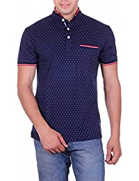 VIVID BHARTI Men's Cotton Collar Pocket Solid T-shirt (Blue, Small)