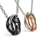 2 collares de la amistad (1par) con colgante, anillos de acero inoxidable 'Her King' 'His Queen' para parejas, con cadena de 45cm y 55cm, para mujer y hombre, color negro, plateado y dorado rosa