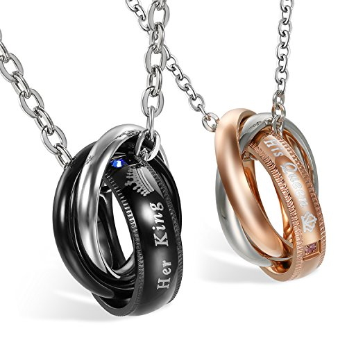 2 Collares Hombre Mujer Anillo Acero Inoxidable Her