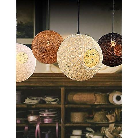 Il rattan arte Ciondolo lampada Ristorante Droplight maglia a mano piccolo Ciondolo lampada Coffee Shop appeso illuminazione , legno
