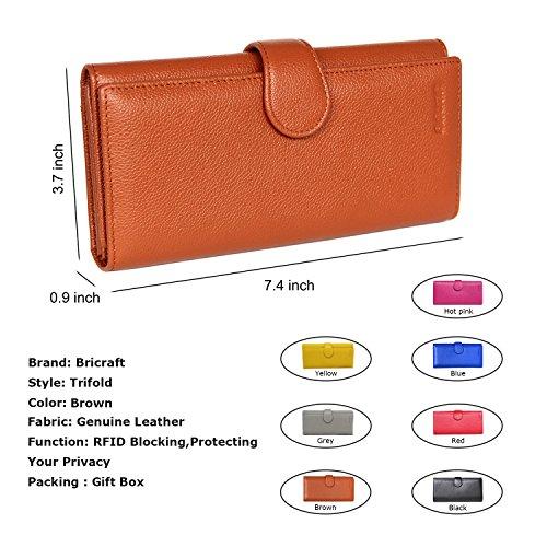 Women RFID Blocking Wallet Trifold Ladies Luxury Leather Clutch Travel Purse Brown