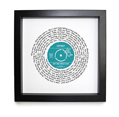 Etta James, AT LAST, Vinyl Record Print | personalisierbar Lied | Vinyl Record Lied Words Print | 23x 23cm Box schwarz Rahmen