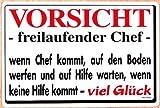 PST-Schild - VORSICHT - freilaufender Chef - Schild Spaßschild HSK Spassschild Spass Funschild Fun Fun-Schild Türschild Tür Kunststoff Kunststoffschild Geschenk Geburtstag