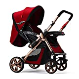 LZTET Kinderwagen Newborn Baby Universal Rad Warenkorb 0-36 Monate Baby Kann Sitzen Liegende Tragbare Falten Vier Jahreszeiten Universal Shockproof Trolley Sitzen,Red