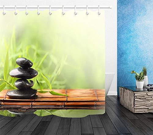 ZZZdz Bambusvorhang Schwarzer Bambusstein. Vorhang. Duschvorhang. Badezimmerzubehör. 180X180Cm. 3D Hd-Druck. Wasserdicht. Verblasse Nicht.