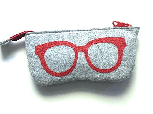 Gütersloher Shopkeeper Reissverschluss Tasche Etui Hülle Filz Grau-Rot Geeignet für Brille, Sonnenbrille Oder Handy Apple iPhone 6s