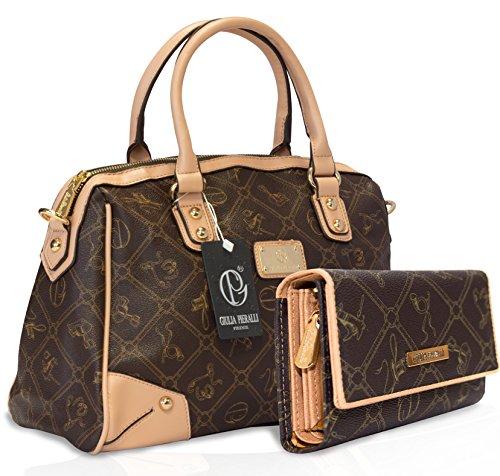 Giulia Pieralli Damen Handtasche Geldbörse SET Tasche Henkeltasche Braun 2622B + G001