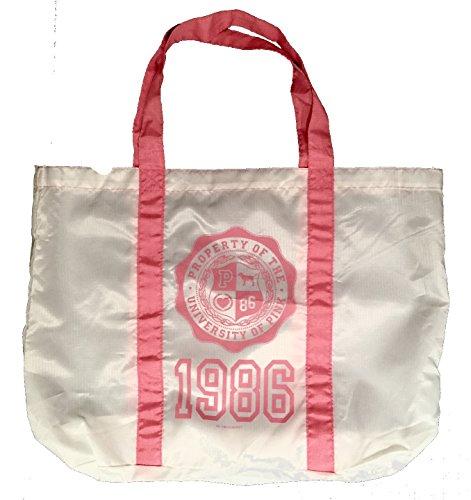 Preisvergleich Produktbild Victoria 's Secret Pink Nylon leichte Sporttasche Bag Travel Tote: Weiß