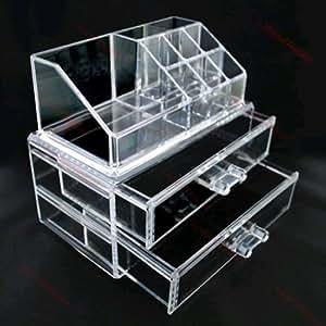 hotportgift bo te de rangement 2 tiroirs pour maquillage bijoux transparent bricolage. Black Bedroom Furniture Sets. Home Design Ideas