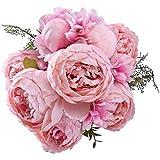 StarLifey Artificial peonía 1 ramo 8 cabezas Flores de seda para decoración del hogar o bodas (Spring Light Pink)