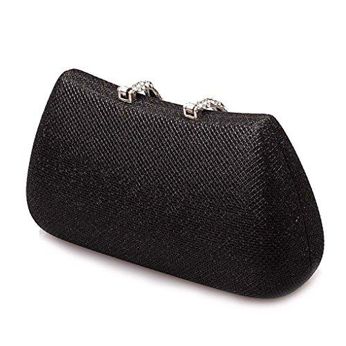 KAXIDY Klassische Damen Satin Abendtasche Unterarmtasche Handtasche mit Elegant Funkelndem Strassbesatz Schwarz