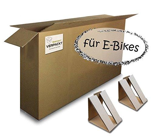 Großer Fahrradkarton/-verpackung (1 Stk) 1800x250x1000mm 2-wellig mit Reifenfixierung (2 Stk.)