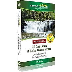 30 Tage Entgiftung & Reinigung des Dickdarms Plus - 90 Kapseln - wirkt reinigend auf das Verdauungssystem - Simply Supplements