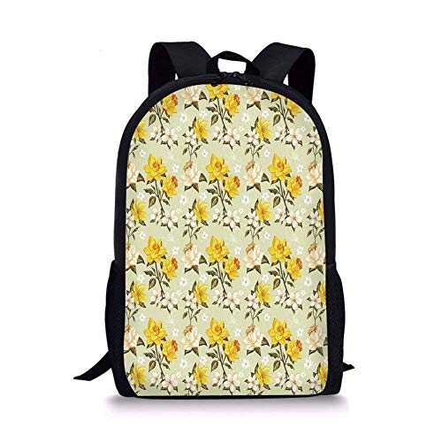 gthytjhv Floral,Spring Season Image with Foliage and Dotted Background with Line Art Decorative,Yellow Tan Pale Green Boy Girl School Backpack Mens Womens Sports Bag