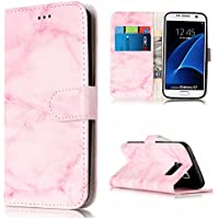 Lomogo Galaxy S7 Leather Wallet Case with Kickstand Credit Card Holder Magnetic Closure Shockproof Flip Case Cover for Samsung Galaxy S7 (Pink Marble)