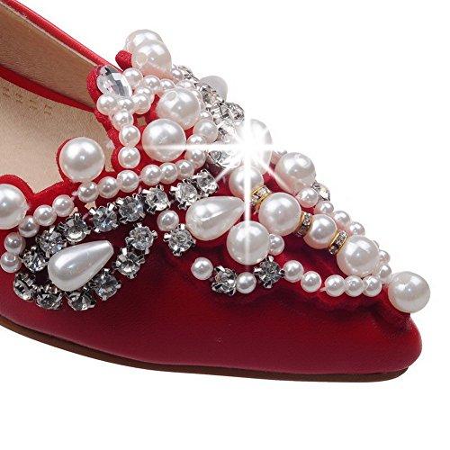 AgooLar Damen Weiches Material Ziehen Auf Spitz Zehe Niedriger Absatz Rein Pumps Schuhe Rot