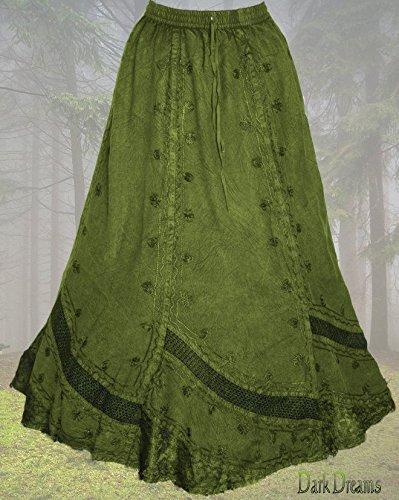 Dark Dreams Gothic Mittelalter Ethno Wicca Pagan Rock Skirt Hydra oliv grün 34 36 38 40, Farbe:weinrot - 2