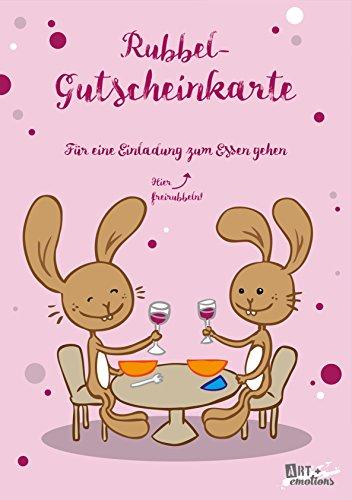 ART + emotions Rubbel- Gutscheinkarte - für eine Einladung zum Essen gehen- Überraschungskarte Gutschein Kratzkarte Wunschkarte