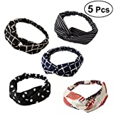frcolor 5Stück Kreuz Headwrap Headbands Twisted elastisch Haar Band Frauen und Mädchen Bandana mit Kopfbedeckungen