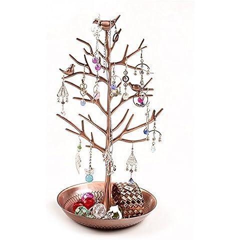 YUDA Jewelry Organizer Display, in bronzo argentato Birds Tree-Torre Rack Espositore porta gioielli, Organizer per orecchini, braccialetti e collane