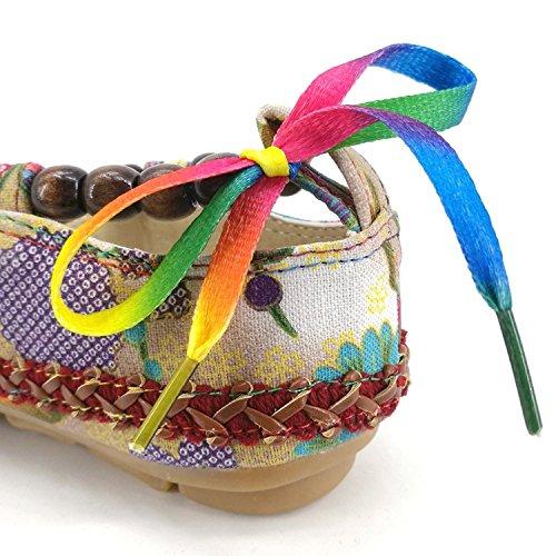 Minetom Donna Estate Autunno Ballerine Stile Etnico Scarpe Basse Colorato Loafers Shoes Morbido Mary Jane Basse Multicolore