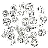 Juanya 30 piezas collar plateados plata de las jaulas del grano del espiral para los resultados de la artesanía de la joyería 3 dimensiones