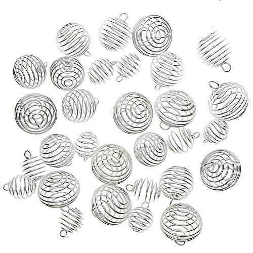 Juanya 30 Stücke versilbert Spiral-Perle Feder Lampion Käfige Anhänger für Schmuckherstellung, 3 Größen