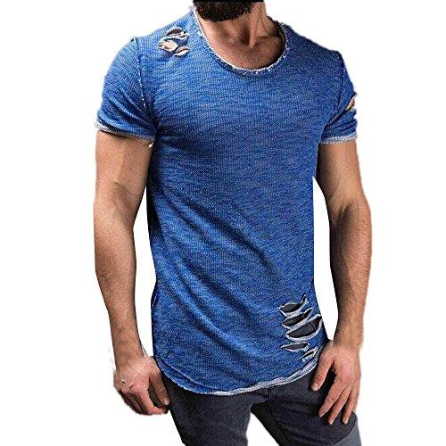 Yvelands Herren T-Shirt Mode Loch Runde Kragen Tees Shirt Kurzarm T-Shirt Bluse(CN-3XL,Blau)