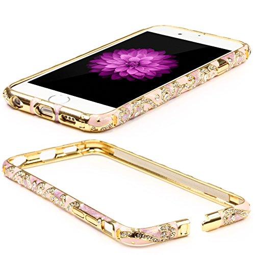 Original UrCover® Apple iPhone 6 Schutz Hülle Aluminium Bumper Diamond Zubehör Hülle Case Cover Alu Cover Metal Weiß Rosa