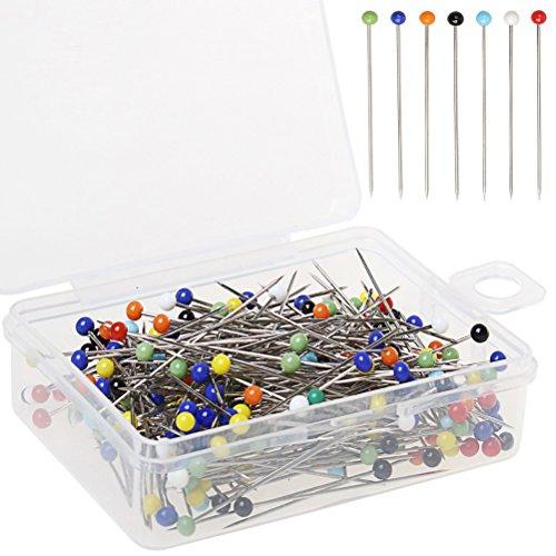 250 Piezas de alfileres de cabeza de vidrio alfileres de coser, borte
